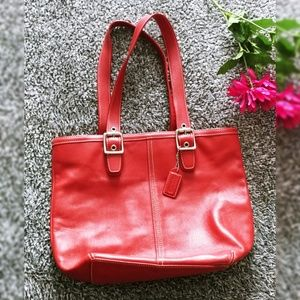 Coach Red Genuine Leather Hampton Tote Bag